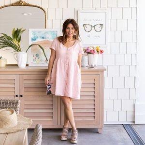 JILLIAN HARRIS x PRIV   NWT Hamptons Linen Babydoll Dress Pink Size Medium